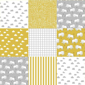 elephant quilt // elephant mustard and grey patchwork squares