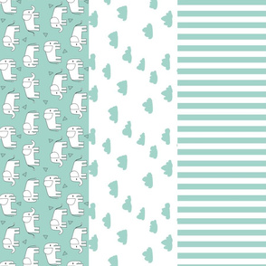elephant quilt // stripes kids clouds dots stripes baby nursery mint