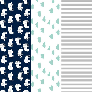 elephant quilt // mint and navy wholecloth cheater quilt stripes