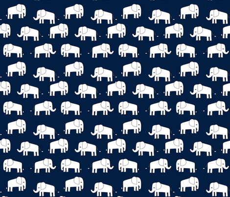 elephant // navy and white baby nursery kids design fabric by andrea_lauren on Spoonflower - custom fabric