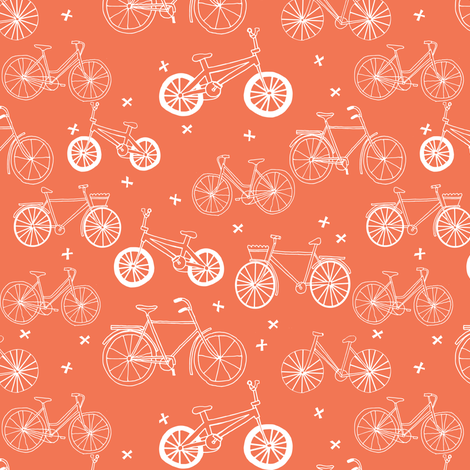 bicycles // orange bikes bicycle cute fun summer bright bicycle print portland fabric by andrea_lauren on Spoonflower - custom fabric