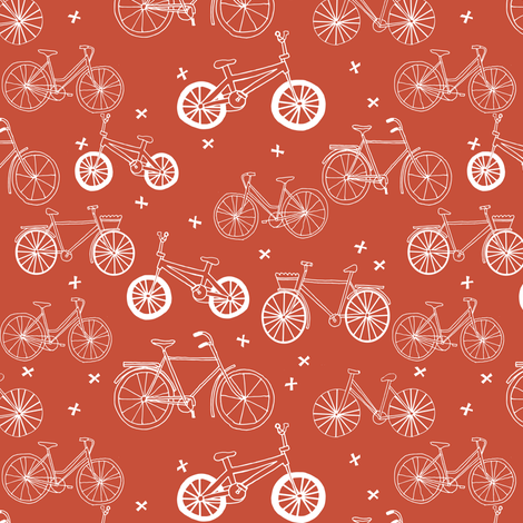 bicycles // red bicycle portland kids summer red bicycle print fabric by andrea_lauren on Spoonflower - custom fabric