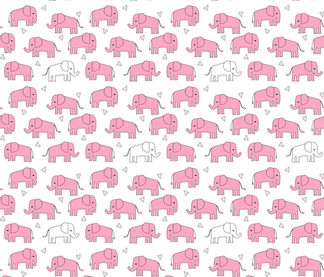 elephant // pink and white baby girl sweet nursery girls pink elephants fabric by andrea_lauren on Spoonflower - custom fabric