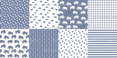 elephant quilt // patchwork cheater quilt wholecloth nursery baby blue baby boy