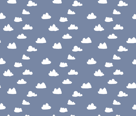 clouds // blue cute nursery baby sky  fabric by andrea_lauren on Spoonflower - custom fabric