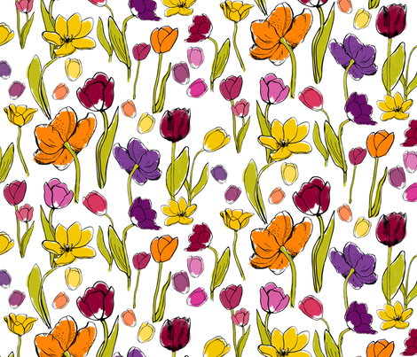 Funky Tulips wild fabric by els_vlieger on Spoonflower - custom fabric