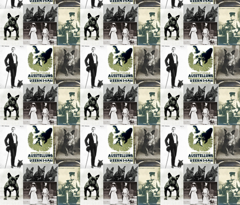 more_vintage_photos_with_poster fabric by doggiedvm on Spoonflower - custom fabric