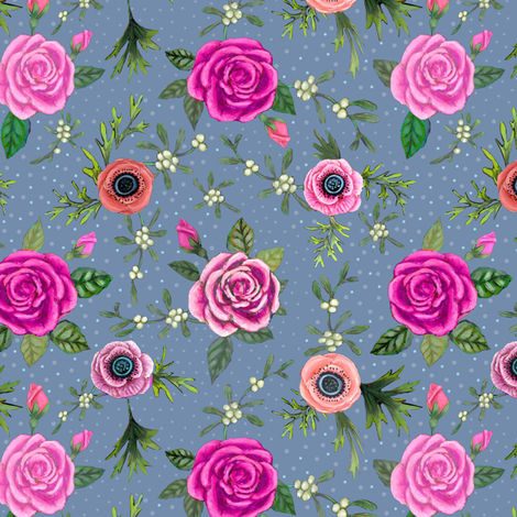 Holiday Floral Pink // rose and mistletoe berry // Christmas // Holidays fabric by magentarosedesigns on Spoonflower - custom fabric