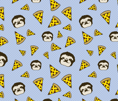 Pizza and Sloths in Blue fabric by ninafos on Spoonflower - custom fabric
