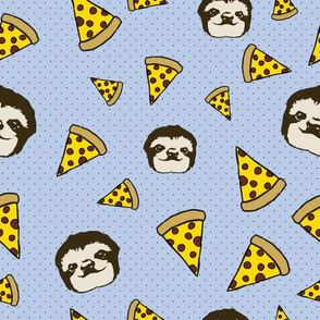 Pizza and Sloths in Blue