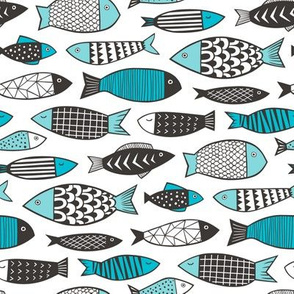 Fish Geometric Black&White Aqua Blue