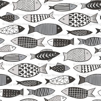 Fish Geometric Black&White Grey