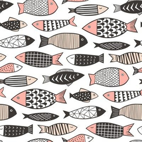 Fish Geometric Black&White Peach