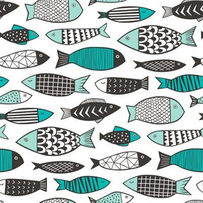 Fish Geometric Black&White Mint Green