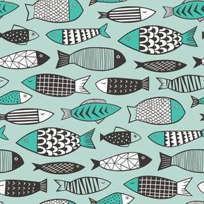 Fish Geometric Black&White on Mint Green