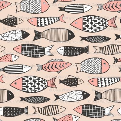 Fish Geometric Black&White on Peach