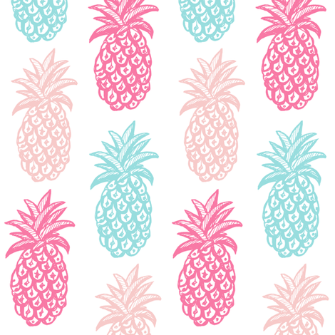 Pineapple  Pink and blue Summer fabric by magentarosedesigns on Spoonflower - custom fabric