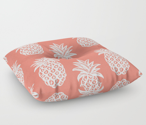Tropical Pineapple // coral and white
