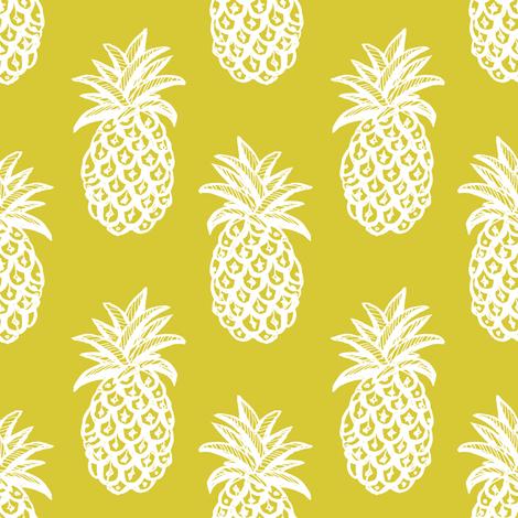 Pineapple Mustard yellow fabric by magentarosedesigns on Spoonflower - custom fabric