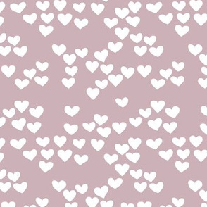 Pastel love hearts tossed hand drawn illustration pattern scandinavian style in violet XS
