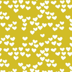 Pastel love hearts tossed hand drawn illustration pattern scandinavian style in mustard yellow XS