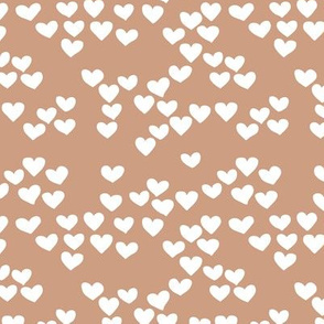 Pastel love hearts tossed hand drawn illustration pattern scandinavian style in soft ochre beige XS
