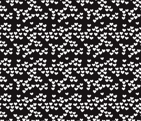 Pastel love hearts tossed hand drawn illustration pattern scandinavian style in neutral black and white XS fabric by littlesmilemakers on Spoonflower - custom fabric