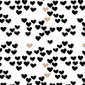 Pastel love hearts tossed hand drawn illustration pattern scandinavian style in neutral black and white ochre XS