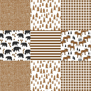 moose quilt // brown quilt squares patchwork kids baby nursery crib sheet wholecloth bedding