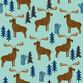 moose // mint navy brown kids animal outdoors trees forest boys