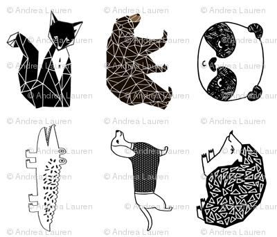 animal plush pillows // custom black and white fox bear hedgehog gator panda dachshund black and white kids animal plush cute designs for baby nursery