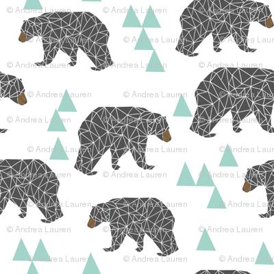 bear // mint and grey charcoal nursery kids bear triangles boys baby boy nursery kids design