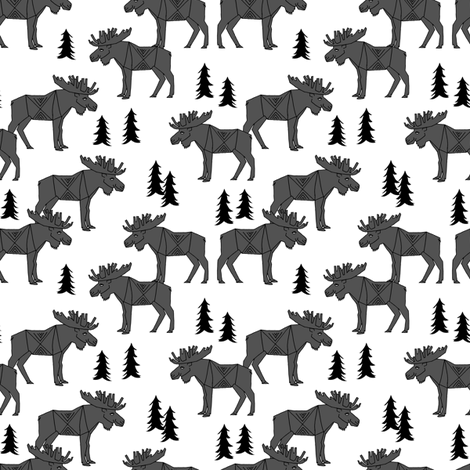 moose // charcoal kids baby canada small animal forest trees outdoors charcoal moose fabric by andrea_lauren on Spoonflower - custom fabric