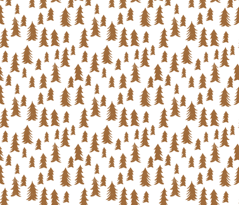 trees // forest trees brown khaki kids woodland outdoors tree print fabric by andrea_lauren on Spoonflower - custom fabric