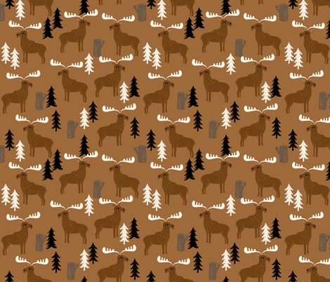 moose // brown charcoal cream dark brown moose canada outdoors animals scouts baby boy kids camping fabric by andrea_lauren on Spoonflower - custom fabric