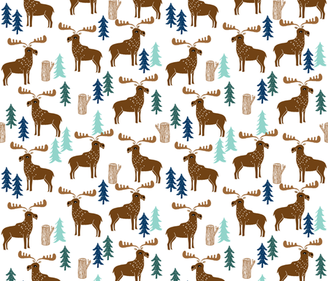 moose // forest outdoors trees logs boy scouts canada mint navy blue fabric by andrea_lauren on Spoonflower - custom fabric