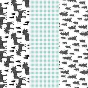moose quilt // crib bedding baby cheater quilt wholecloth mint grey charcoal kids baby baby boy canada cute animals