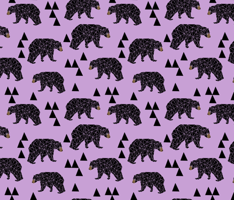 geometric bear // lilac pastel purple triangles girly woodland bear design for edgy kids illustration pattern fabric by andrea_lauren on Spoonflower - custom fabric
