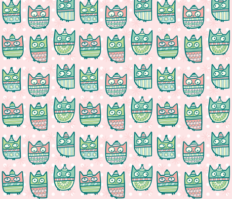 sweater owls in pink fabric by pinkowlet on Spoonflower - custom fabric
