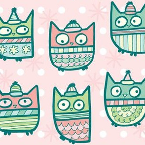 sweater owls in pink