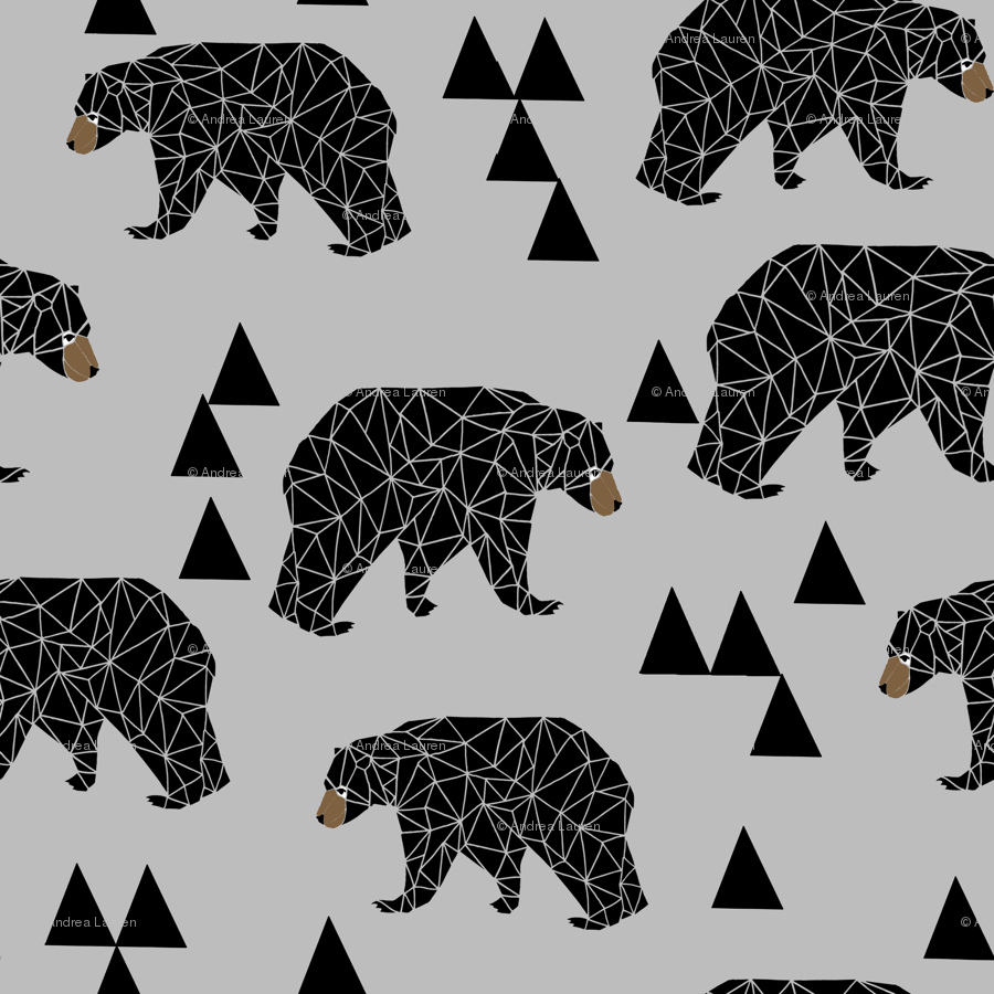 Geometric Bear Slate Grey Geo Bear On Grey With Triangles Minimal