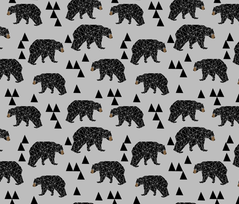 geometric bear // slate grey geo bear on grey with triangles minimal monochrome trendy bear fabric by andrea_lauren on Spoonflower - custom fabric