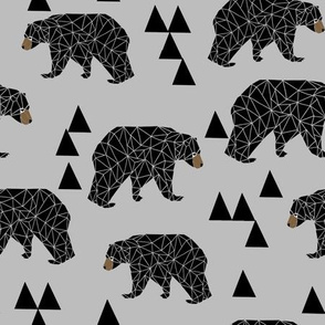 geometric bear // slate grey geo bear on grey with triangles minimal monochrome trendy bear