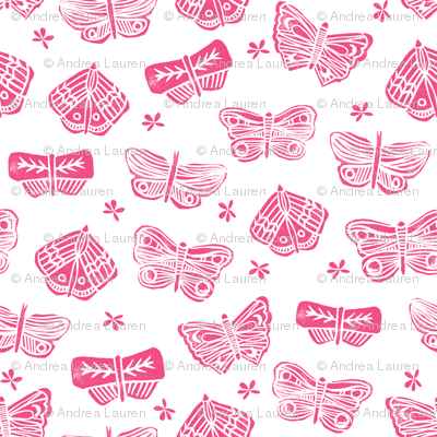 butterfly // block print  pink spring summer flowers pink girly cute