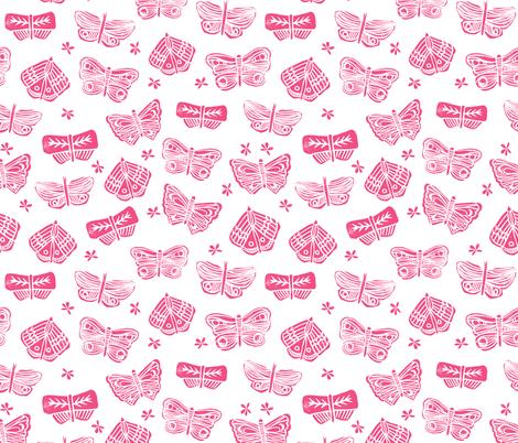 Butterfly Block Print Pink Spring Summer Flowers Pink