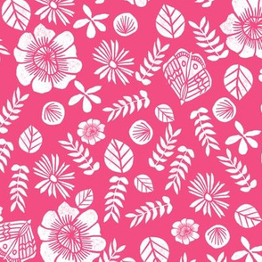 spring // flowers floral bright pink girly butterflies leaves nature