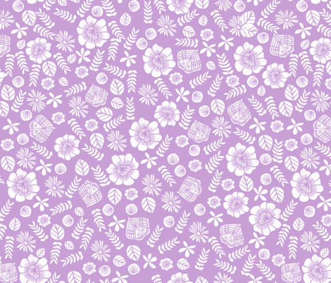 spring // block print spring florals flowers purple pastel lilac lavender fabric by andrea_lauren on Spoonflower - custom fabric