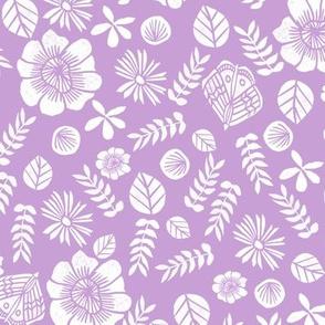 spring // block print spring florals flowers purple pastel lilac lavender