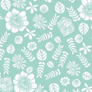 spring // flowers mint butterflies block print garden botanical girly