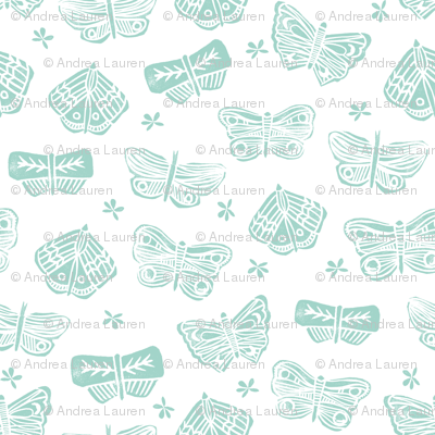 butterfly // block print spring mint girls cute flowers floral botanical